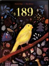 A yellow canary sits on a branch in front of a dark background where scenes of his life are displayed