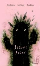 A black creature like fluffy cactus with eyes and hands on a pink backgraund.