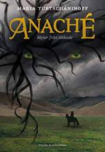 A girl is riding a horse on a green vale. Grey mountains and a stormy sky stand above them. Threatening green eyes look at them from the sky.