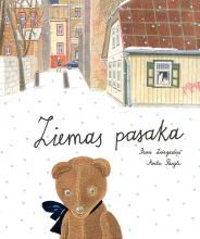 Riga's houses and a small street. A brown  toy bear is looking towards reader.